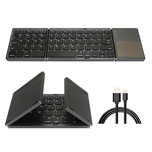 Teclado táctil Bluetooth Tri-Plegable, Teclado inalámbrico portátil Ultra Delgado Ultra Delgado, Compatible con iPhone, iPad, Android Smartphone (Distribución de Teclado Internacional)