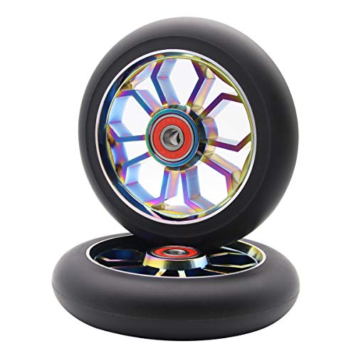 Z-FIRST 2PCS Replacement 110mm Pro Scooter Wheel with ABEC 9 Bearings Fit for MGP/Razor/Lucky Pro Scooters (Rainbow)