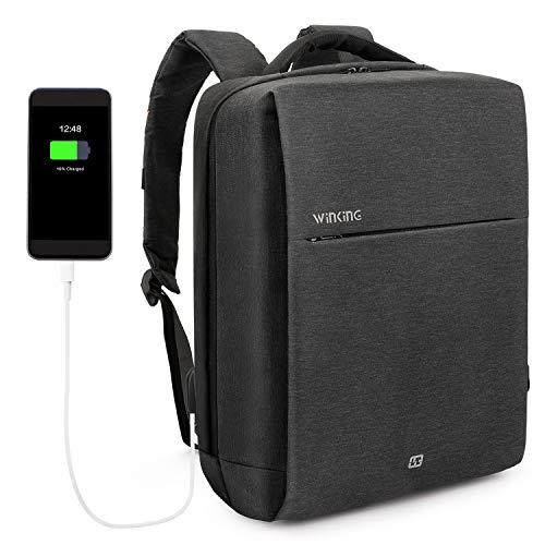 Laptop Rucksack 15,6 Zoll mit USB-Ladeanschluss wasserdicht Schulrucksack für Arbeit Schule Reisen Camping