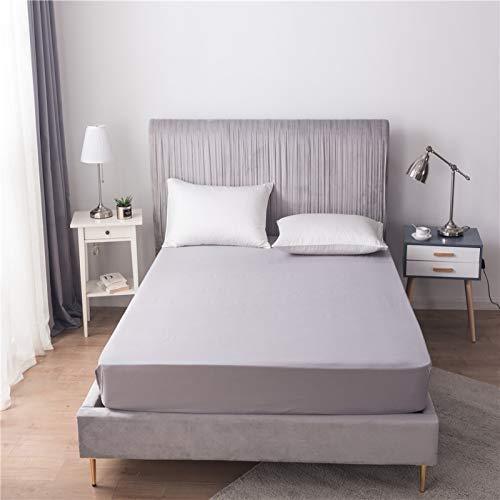 HAIBA Sábana bajera ajustable de lujo de satén de algodón suave, sábana bajera elástica en colchón de cama doble, gris, 54 x 75 + 12 (138 x 190 + 30 cm)