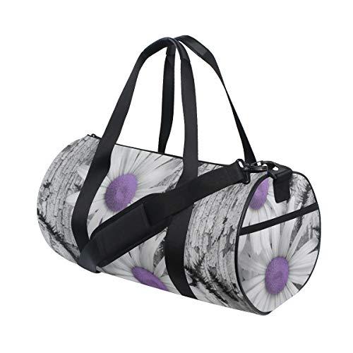 ZOMOY Sporttasche,Purpurrotes graues Weiß Gänseblümchen Blumen Schmetterlings Schwarz Fuchsschwanz Gras,Neue Bedruckte Eimer Sporttasche Fitness Taschen Reisetasche Gepäck Leinwand Handtasche