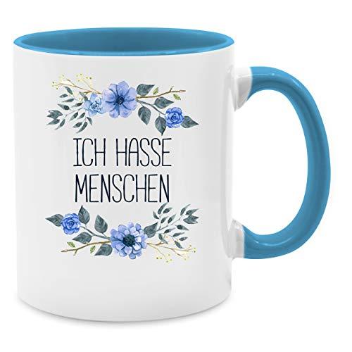 Shirtracer Tasse mit Spruch - Ich Hasse Menschen Blumen - Unisize - Hellblau - Tasse XXL - Q9061 - Tasse für Kaffee oder Tee