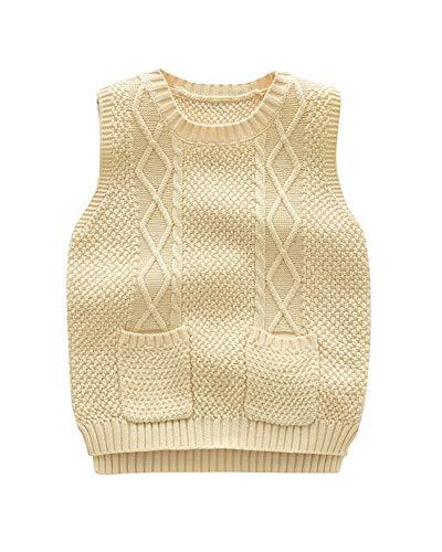 Niños Niñas Chaleco De Punto Cuello Redondo Sin Mangas Jersey Suéter Pullover Albaricoque 100 Adecuado para la Altura: 100CM