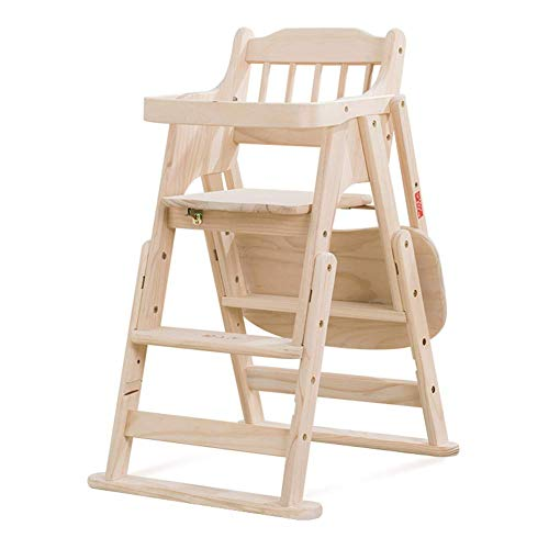 WWWWWWW-DENG barkruk voor baby's, eettafel, inklapbaar, multifunctioneel, draagbaar, van hout (kleur: bruin, maat: groot)