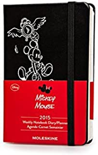 By Moleskine Moleskine 2015 Mickey Mouse Limited Edition Weekly Planner, 12 Month, Pocket, Black, Hard Cover (3.5 (Egmt)