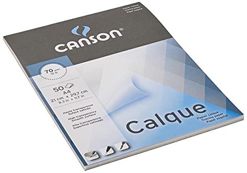 Canson Vegetal Graphic Microfino, Bloc Encolado A4, 50 Hojas, 75 g