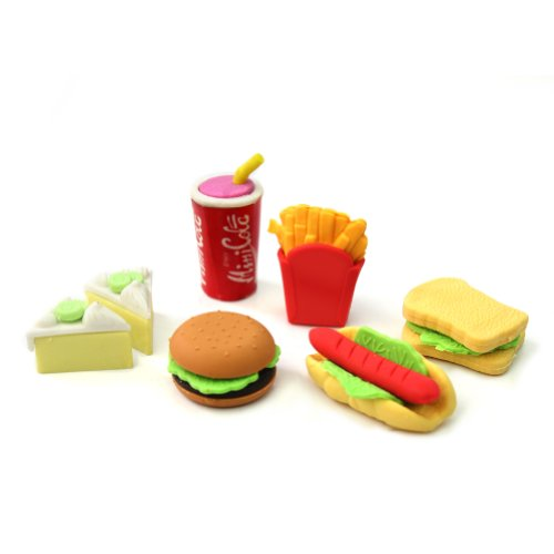 ReFaXi Novelty Cute Food Rubber Pencil Eraser Set Various Stationery Kids Children Toy