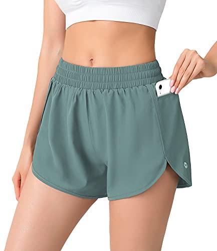 Benirap Womens Shorts Quick-Dry Running Shorts Sports Layer Elastic Waist Workout Hiking Shorts with Zipper Pocket Green