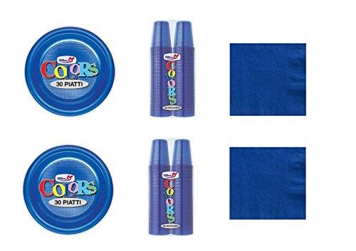 CDC - Kit n°1 Coordinato Monocolore Blu da tavola per Festa e Party ed Ogni ricorrenza - (30 Piatti, 100 Bicchieri, 50 tovaglioli)