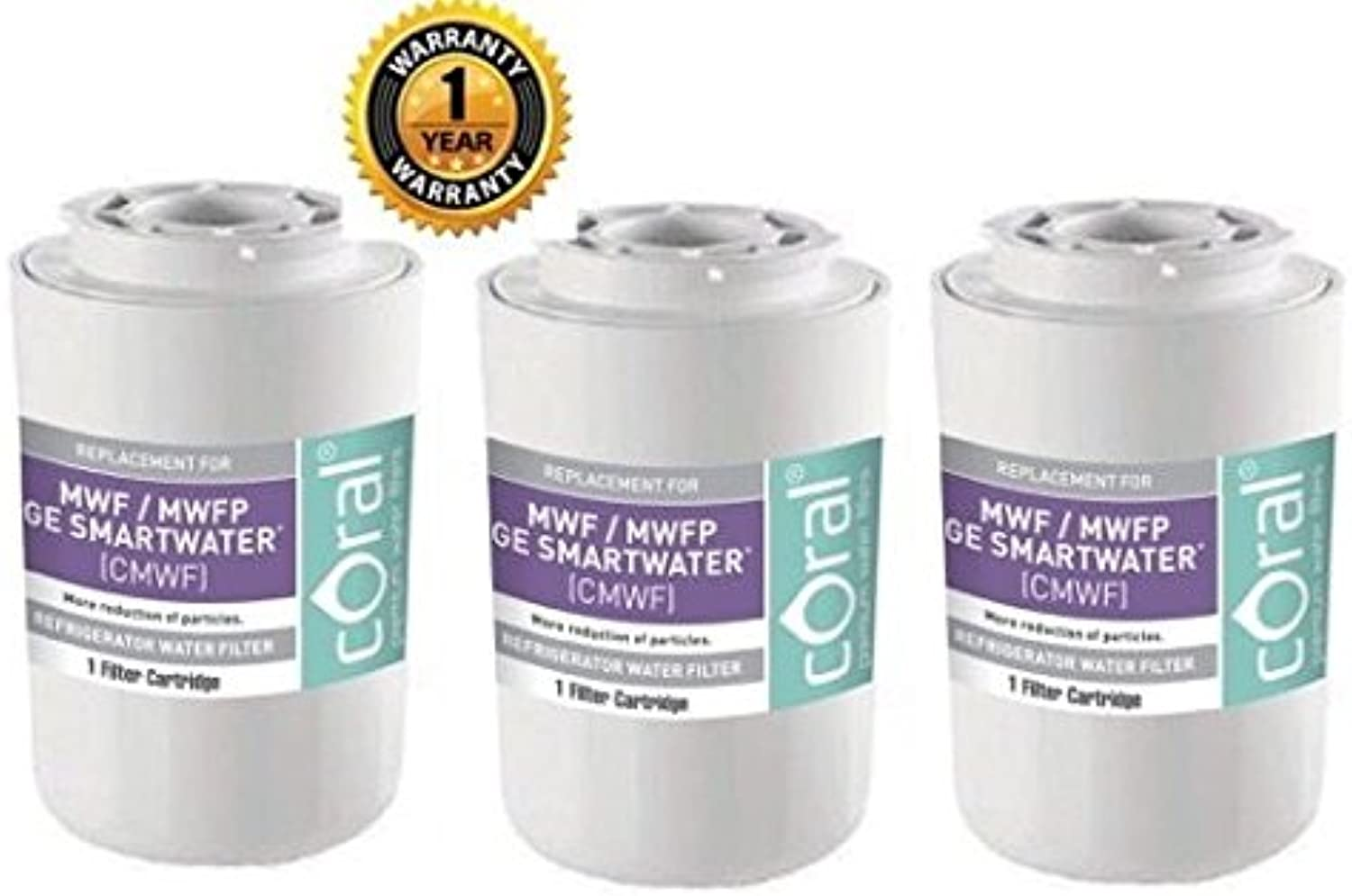 3 Pack Ge Mwf Smartwater Mwfp Wf287 Wsg-1 Eff-6013a Comparable Water Filter