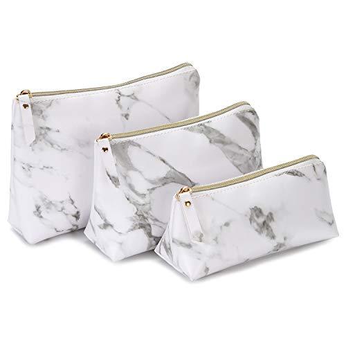 Sea Team Lot de 3 sacs de maquillage portables en marbre étanche avec fermeture éclair Marbre/finition mate.