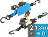 valonic eslingas automáticas con carraca y gancho | acolchado | EN-12195-2 | cinchas de amarre con trinquete | para SUP Board o moto | 300 Kg | 1,8m | 25mm | 2 piezas | negro
