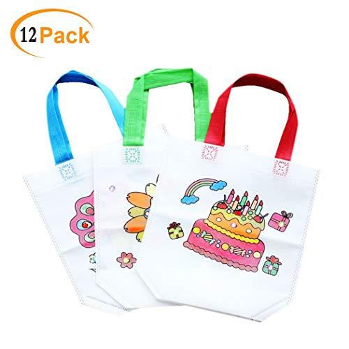 QYY 12 PCS DIY Kinder Stoffbeutel ,Non-Woven-Tasche Zum Selber bemalen,DIY Graffiti Taschen Einkaufstaschen Geschenktaschen zum Ausmalen für Kinder