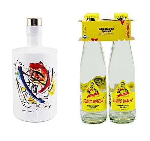 AXL.one Dry Gin 1x ca. 0,5l Set mit 4x ca.0,25l Tonic Water Schwarzwald Sprudel Bundle Geschenk Hand abgefüllt