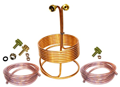 HomeBrewStuff 25' Copper Immersion Wort Chiller - Deluxe Package with 2X 12' Hoses, Fittings, and Faucet Adapter