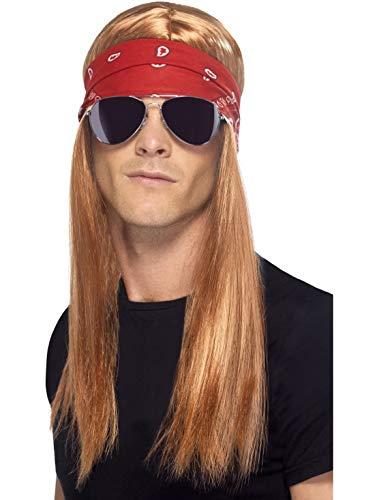 Karnevalsbud - Kostüm Accessoires Zubehör Herren 90er Jahre Rocker Set mit Langhaar Perücke Wig, Halstuch und Sonnenbrille, perfekt für Karneval, Fasching und Fastnacht, Braun