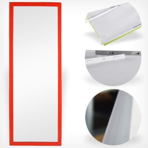 DRULINE Türspiegel Wandspiegel Garderobenspiegel Spiegel Ganzkörperspiegel schrankspiegel Ankleidespiegel Dekoration Hängend | Schlafzimmer Wohnzimmer Badezimmer F0015070 |34cm x 94 cm x 1.5 cm | Rot