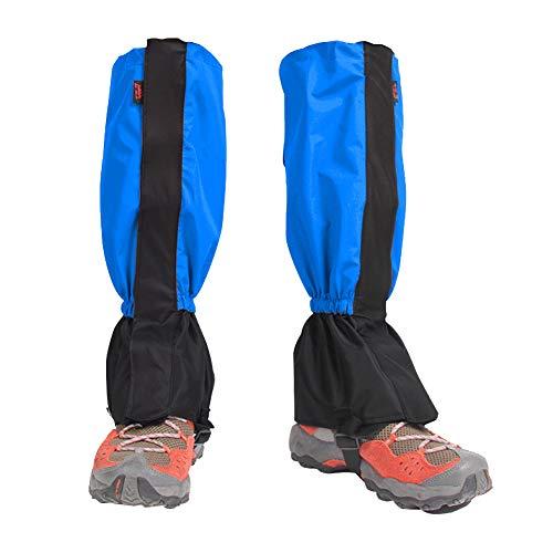 Houdao 1Paar Gamaschen Herren Wasserdicht Gamaschen Outdoor PVC Atmungsaktive Einstellbare Gamaschen Damen Schnee für Wandern, Klettern, Trekking, Schneewandern und Jagd (Blau)