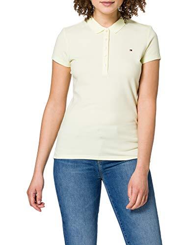 Tommy Hilfiger Short Sleeve Slim Polo Camiseta sin Mangas para bebés y niños pequeños, Yellow, XS para Mujer