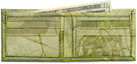 Leaf Leather Bifold Wallet Mens Unisex Flip Wallet Handmade Green product image