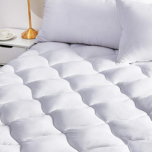 BINHIA Mattress Pad Queen Mattress Topper - Quilted Fitted Cooling Queen Mattress Pads - Overfilled with Breathable Snow Down Alternative Filling