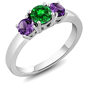 Gem Stone King 925 Sterling Silver Green Simulated Emerald and Purple Amethyst 3-Stone Women s Ring  1.34 Ct Round Cut   Size 7
