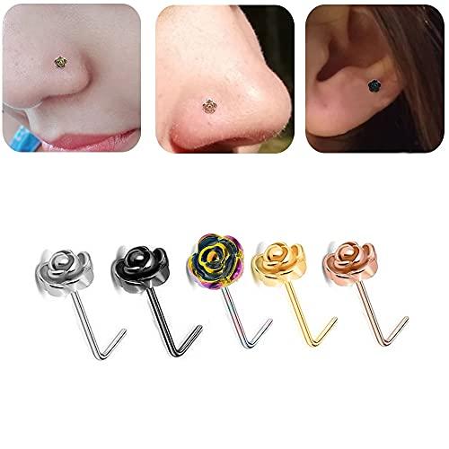5 piercings para hombre con forma de L y flor de rosa para mujer, accesorios para el cuerpo, joyería de labios, piercing para la nariz (5 unidades, multicolor)