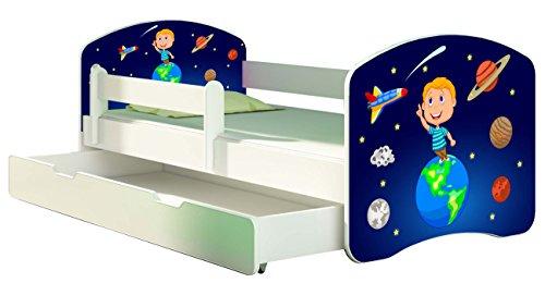 Letto per bambino Cameretta per bambino con materasso Cassetto ACMA II (22 Il cosmo, 140x70 + Cassetto)
