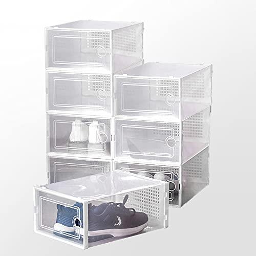 Supzone Paquete de 8 cajas apilables para zapatos plegables caja de almacenamiento de plástico para zapatos, organizador de zapatos necesita ser montado, tamaño grande, color blanco