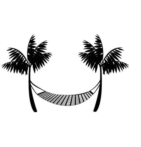 Muurstickers muurschilderingen Duurzaam Zwart Gedrukt Strand Hangmat Palm bomen Thuis 68X44cm