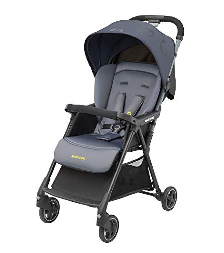 Maxi-Cosi Diza Buggy with Reclining Position, Small Folding, Usable From 6 Months To Approx. 4 years (Max. 15 kg), compact children's stroller with rain cover and large shopping basket, Brave Graphite