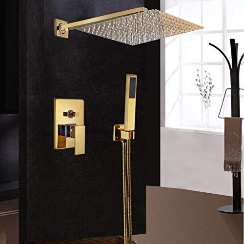 Badarmaturen Luxus Gold Messing Bad Wasserhahn Mischbatterie Wand Regen Duschkopf Badewanne Auslauf Dusche Wasserhahn Sets