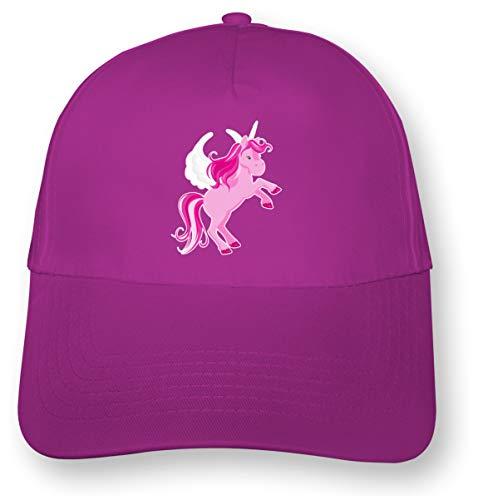Samunshi Kinder Kappe Pinkes Einhorn Mütze Cap Kindermütze für Kids Junior Original 5 Panel Cap OneSize pink/Farbiger Aufdruck