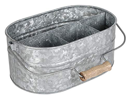 Farmhouse Rustic Utensil Caddy Carry-All Serveware Galvanized Metal Organizer for Kitchen Counter - Comfortable Wooden Handle IndoorOutdoor Storage For Flatware Condiments Party Cutlery - NATURAL