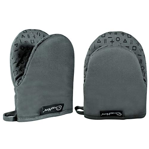 FINOHOPE Small Oven Mitts Heat Resistant 500 Degrees NonSlip Grip for Handling Hot Cookware Grey