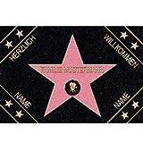 Eule-Design.de Fußmatte Walk of Fame mit Namen Ihr personalisiertes Geschenk für Familie Paare Männer Frauen Hollywood Stern Star (67x44)