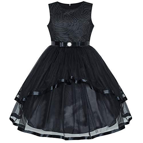 Vestido para niña Flor Negro Boda Fiesta Dama de Honor 12 años