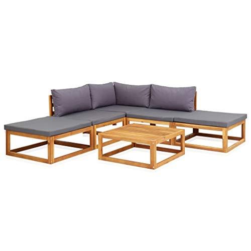 pedkit Conjuntos Sofa Exterior Juego Muebles de jardín y Cojines 6 Piezas Madera Maciza Acacia