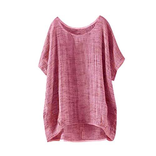 TWIFER Damen Fledermaus Kurzarm Beiläufige Lose Tops Dünnschnitt Bluse T-Shirt Pullover (3XL, a- Rot)