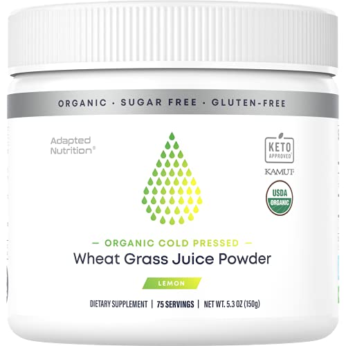 Organic Cold Pressed Raw Wheat Grass Juice Powder with Kamut   75 Servings   Rich in Vitamins, Chlorophyll & Trace Minerals   No Maltodextrin & Sugar   Delicious Lemon Flavor