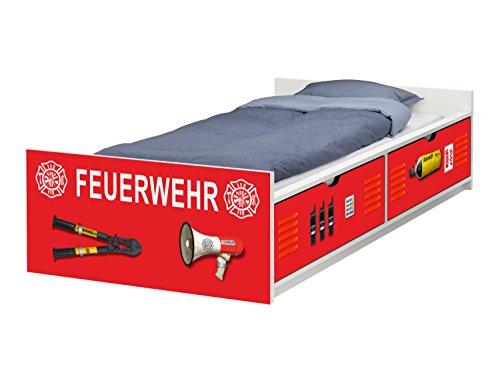 STIKKIPIX Feuerwehr Möbelfolie | passend zum IKEA Kinderbett FLAXA | passgenaue Klebe-Folie für Schubkästen und Stirnseite | FLX01 | Möbel Nicht Inklusive