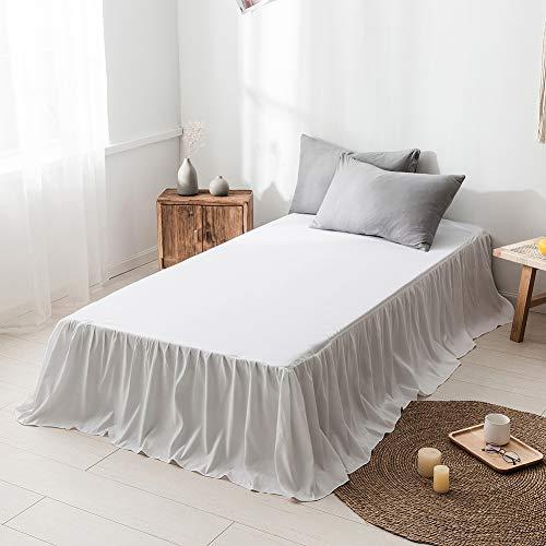 DOMDIL- Bettrock aus gekräuselter Baumwolle - Extra tief, 150 x 200 cm, Weiß