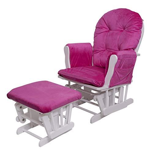 Mendler Relaxsessel HWC-C76, Schaukelstuhl Sessel Schwingstuhl mit Hocker - Samt, pink, Gestell weiß