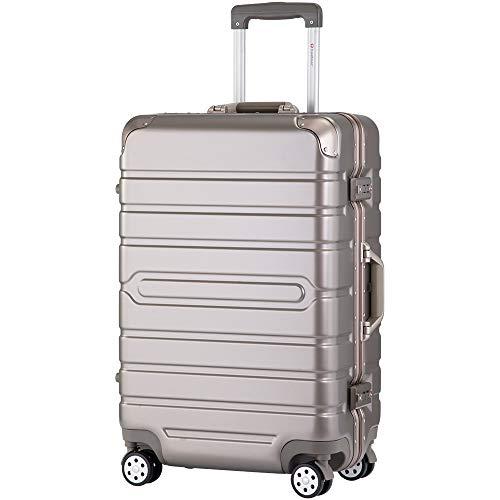 [トラベルハウス] Travelhouse スーツケース キャリーケース TSAロック フレーム 頑丈 ビジネス 出張 おしゃれ 保管カバー付(一年安心保証) (グレージュ, L)