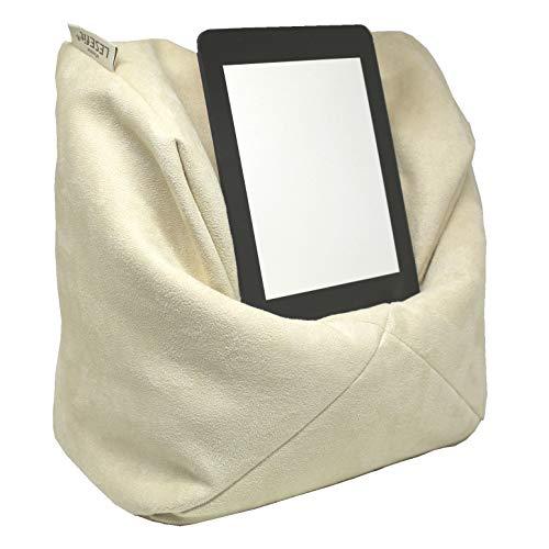 LESEfit Soft antirutsch Lesekissen, Tablet Kissen Halter kompatibel mit iPad, Sitzsack für Buch & e-Reader (multifunktionale Quader-Form) für Bett & Sofa - Wildleder-Imitat Creme