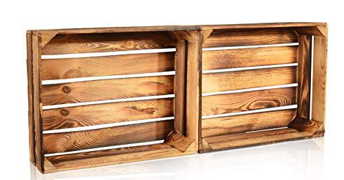 CHICCIE 2 Set Geflammte Obstkisten - 50cm x 40cm Holzkisten Weinkisten Holz Kisten Apfelkisten Obstkiste Gebrannt