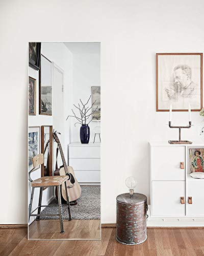 """TinyTimes 65""""×22"""" Modern Large Full Length Floor Mirror, Full Body Tall Mirror, Free Standing or Wall-Mounted, Brushed Thin Frame, for Bedroom, Living Room, Dressing Room Decor - Silver"""