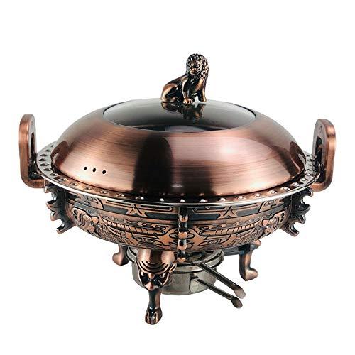 ZOUJUN Antique Copper Arts de la Table en Acier Inoxydable Alcool Hot Pot Petit Hot Pot Main Cuivre Hot Pot d'extérieur Poêle Vieux Beijing Chinese Grand Hot Pot 28 * 22cm