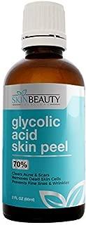 GLYCOLIC Acid 70% Skin Chemical Peel - Unbuffered - Alpha Hydroxy (AHA) For Acne, Oily Skin, Wrinkles, Blackheads, Large Pores,Dull Skin (4oz / 120ml)