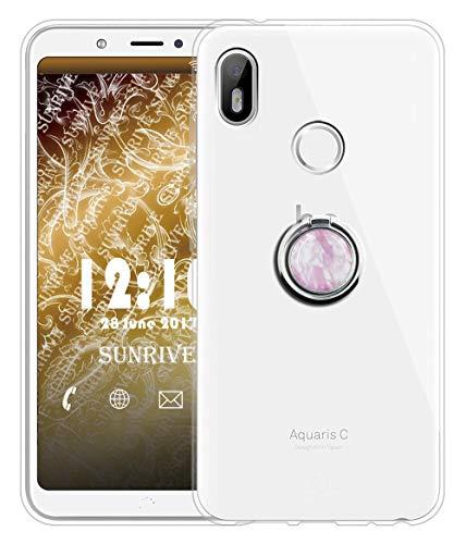 Sunrive Für BQ Aquaris C Hülle Silikon, Transparent Handyhülle 360°drehbarer Ständer Ring Fingerhalter Fingerhalterung Schutzhülle Etui Hülle(Rosa Marmor) MEHRWEG